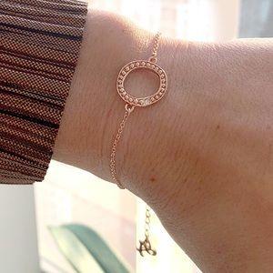 Adore Swarovski rose gold organic circle bracelet